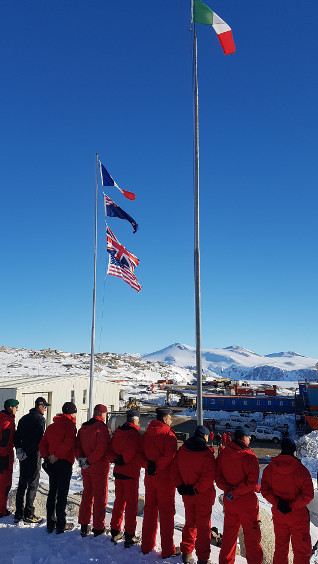 Flag-raising ceremony at the Mario Zucchelli research station - JPEG