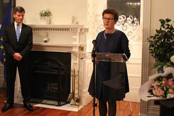 "In her speech, French Ambassador Jeanblanc-Risler quoted President Macron's words : ""l'audace de la liberté, l'exigence de l'égalité, la volonté de fraternité"" (""We want Liberty to be bold, Equality to be upheld, Fraternity to be our common will""). - JPEG"