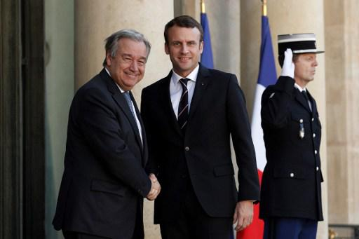 Antonio Guterrez, UN general secretary and the French president Emmanuel Macron - JPEG