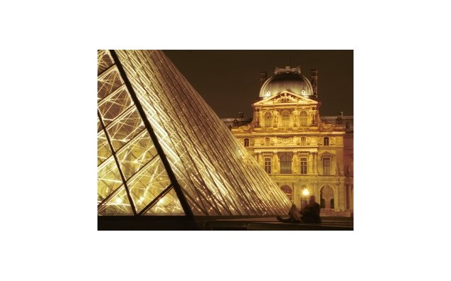 The Great Courtyard of the Louvre by night (Paris, Ile-de-France)